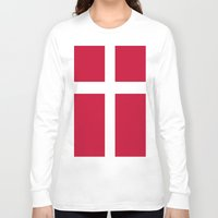 denmark Long Sleeve T-shirts featuring Flag of Denmark by Neville Hawkins