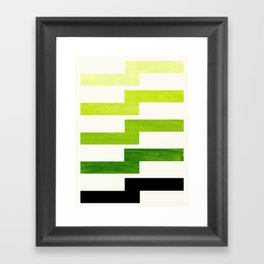 Minimalist Mid Century Modern Sap Green Watercolor Painting Lightning Bolt Zig Zag Pattern With Blac Framed Art Print