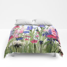 Colorful Garden Flower Painting Comforters