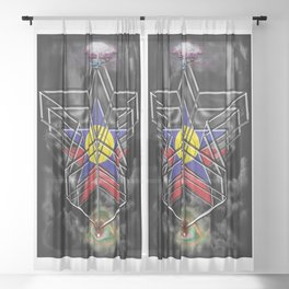 """""""Beez Lee Art : Wish Upon A Square Star"""" Sheer Curtain"""