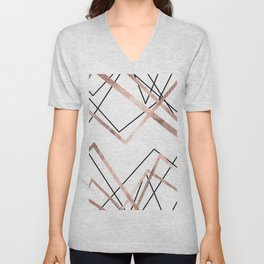 Rose Gold White Linear Triangle Abstract Pattern Unisex V-Neck