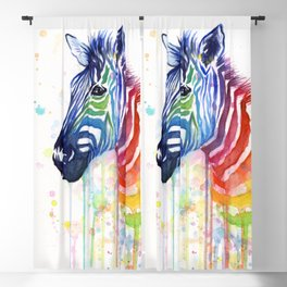 Zebra Watercolor Rainbow Animal Painting Ode to Fruit Stripes Blackout Curtain