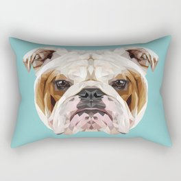 English Bulldog // Blue  Rectangular Pillow
