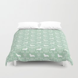 Corgi silhouette florals dog pattern mint and white minimal corgis welsh corgi pattern Duvet Cover