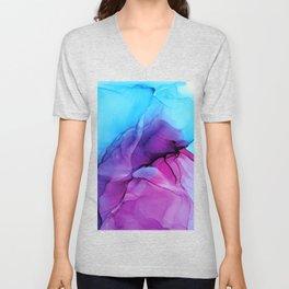 Aqua Pop - Alcohol Ink Painting Unisex V-Neck