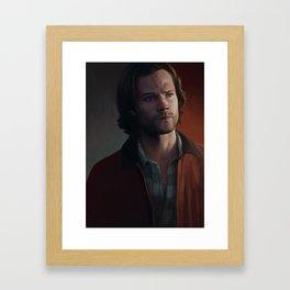 Sam Winchester. Red Jacket Framed Art Print