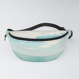 Turquoise Ocean Landscape Art, Aqua Blue Seascape Photo, Teal Sea Horizon Photography Fanny Pack