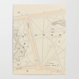 Vintage Map of The Boston Commons (1895) Poster
