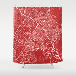 Irvine Map, USA - Red Shower Curtain