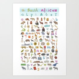 The South African Alphabet Art Print