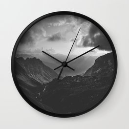 Valley - black and white landscape photography Wall Clock