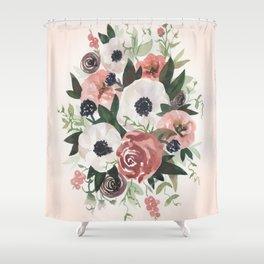 Anemone Berry Watercolor Bouquet Shower Curtain