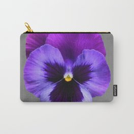 GREY MODERN ART SINGLE PURPLE PANSY Carry-All Pouch