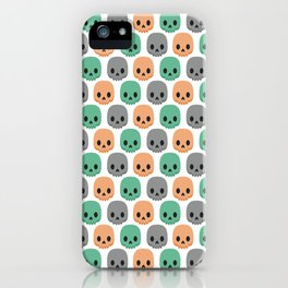 Orange, green and grey skulls iPhone Case