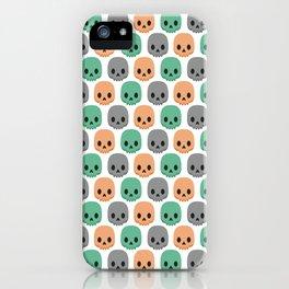 Orange, green and grey skulls iPhone Case