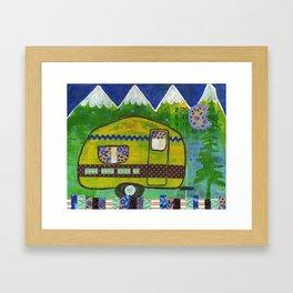 Vintage Camper Mountain Adventure Framed Art Print