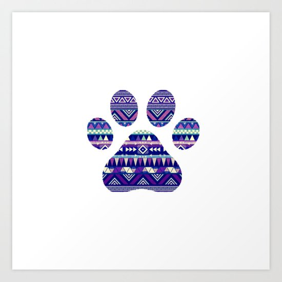 Aztec Paw Print (Dog & Puppy, Animal Lovers) Art Print
