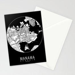 Manama City Map Bahrain - Full Moon Stationery Cards