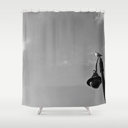 Seagull on lantern Shower Curtain