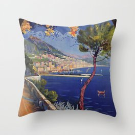 Salerno Italy vintage summer travel ad Throw Pillow