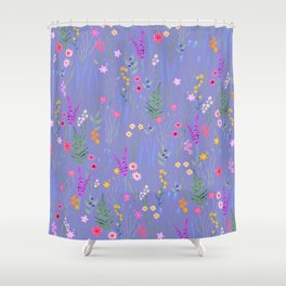 blue meadows colorful floral pattern Shower Curtain