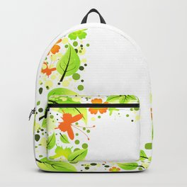 Frame from abstract leaves, flowers and butterflies Backpack