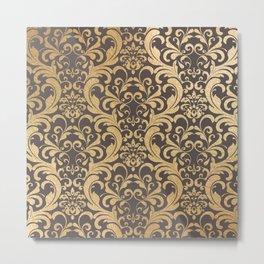 Gold swirls damask #1 Metal Print
