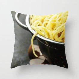 spaghetti in colander on dark vintage background Throw Pillow