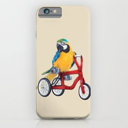 Parrot macaw on red bike iPhone Case