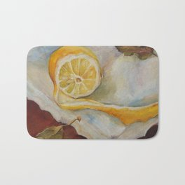 Still life with Lemon Oil painting on canvas Yellow Cirtus Fruit Home decor Bath Mat