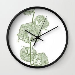Cotton Green on White Wall Clock