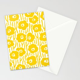 Mid Century Modern Wild Flowers Yellow Stationery Cards