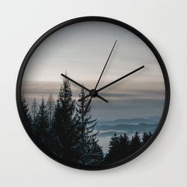 Blue Hour in Winter Forest | Nature & Landscape Photogrpahy Wall Clock