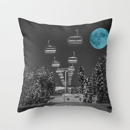 Chair Lift to the Teal Moon Throw Pillow