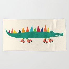 Crocodile on Roller Skates Beach Towel