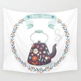 Tea Time Floral Tea Kettle Wall Tapestry