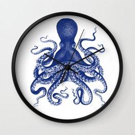 Octopus Print Navy Bluer by Zouzounio Art Wall Clock
