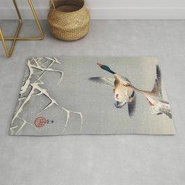 12,000pixel-500dpi - Ohara Koson - Top Quality Art - Two Ducks Rug