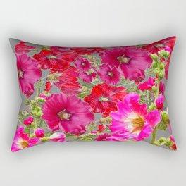 AWESOME FUCHSIA  RED HOLLYHOCKS GARDEN GREY ART Rectangular Pillow