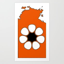 Northern Territory Australia Map with NT Flag Art Print