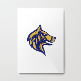 Husky Dog Head Woodcut Metal Print