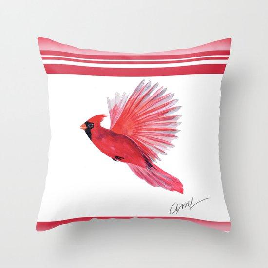 Cardinal Bird Throw Pillows : cardinal in flight Throw Pillow by Ariadne Society6
