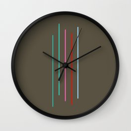Five Minimal Abstract Colorful Stripes 05 Wall Clock