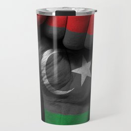 Libyan Flag on a Raised Clenched Fist Travel Mug