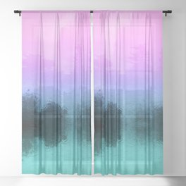Rainy Day Birds - Multicolor Abstract Photo Montage Sheer Curtain