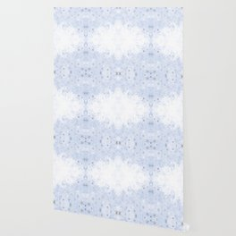 Silver snowflakes on blue Wallpaper
