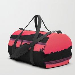 Pink Sunset Silhouette - Mt. Redoubt, Alaska Duffle Bag