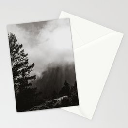 Misty Forest in Black and White Stationery Cards