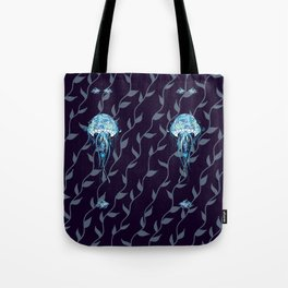 Ocean Jellyfish with Beta Fish and Seaweed in a Midnight Blue Ocean Tote Bag
