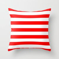 stripes Throw Pillows featuring Horizontal Stripes (Red/White) by 10813 Apparel